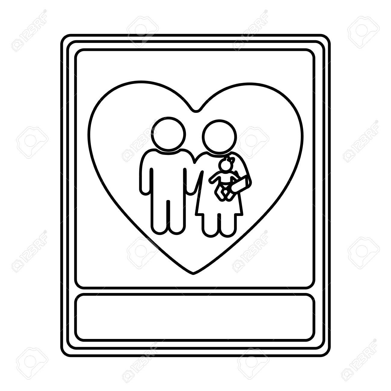 Monochrome Contour With Portrait Of Family Unity Vector Illustration