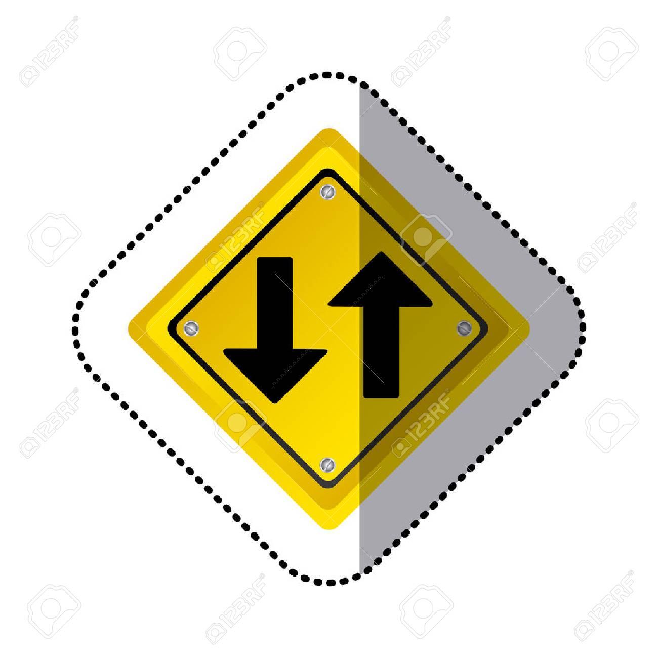 sticker yellow diamond shape frame two way traffic sign vector illustration - 73904037