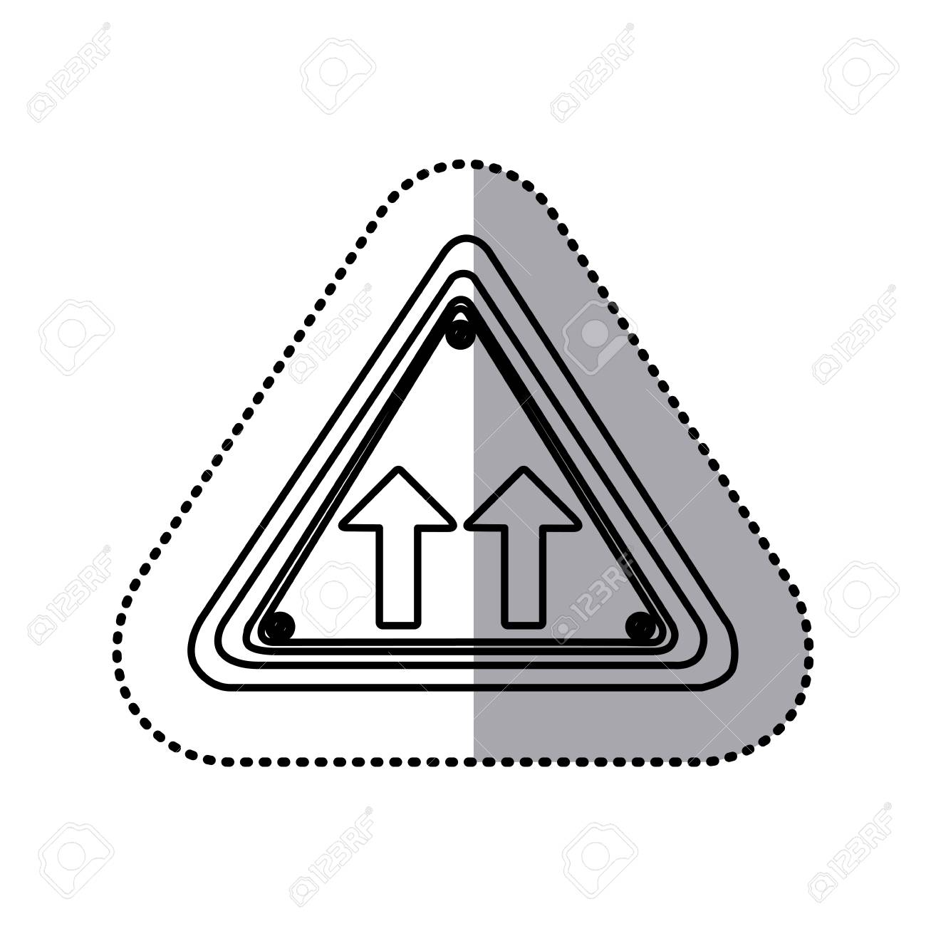 Etiqueta Engomada Silueta Triángulo Forma Marco Misma Dirección ...