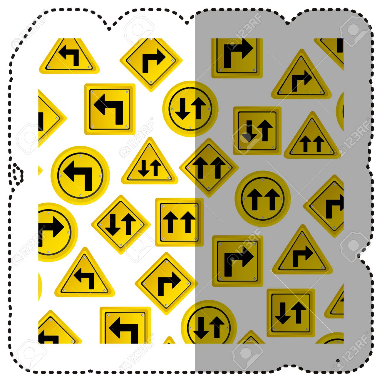 sticker pattern road traffic sign with arrows set vector