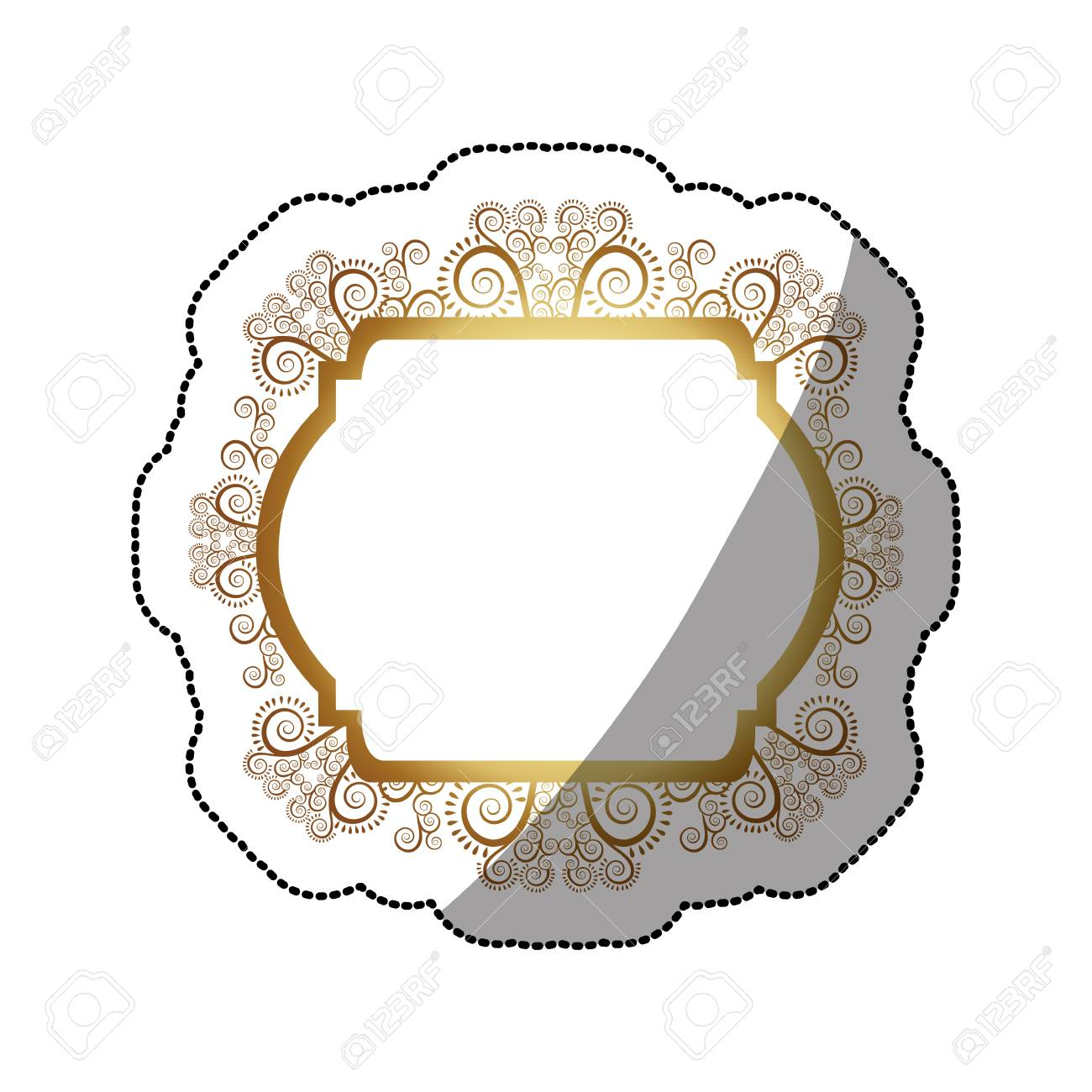Sticker Golden Curved Rectangle Heraldic Baroque Frame Vector