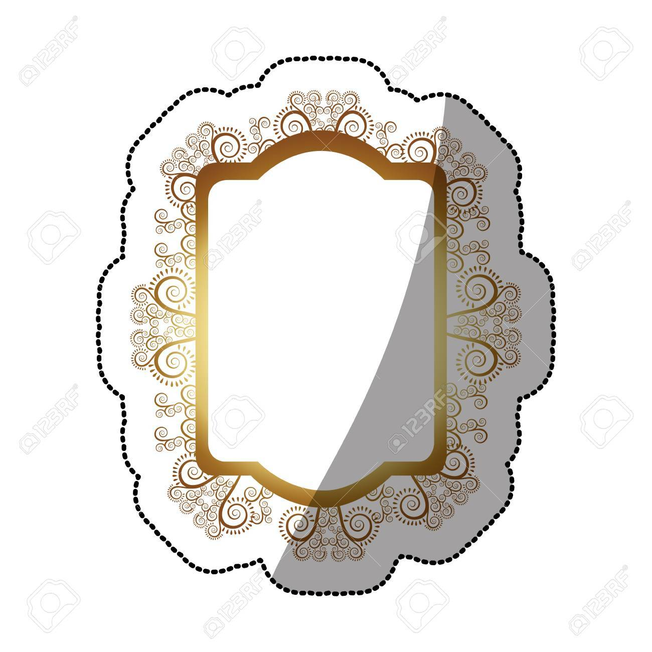 Sticker Golden Oval Rectangle Heraldic Baroque Frame Vector