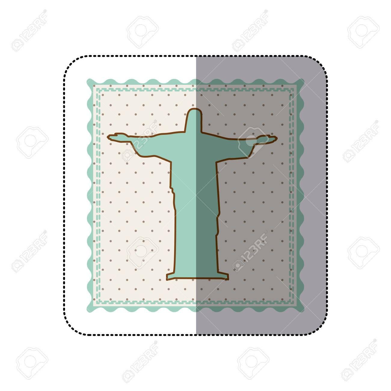 Etiqueta engomada de Cristo el Redentor Brasil