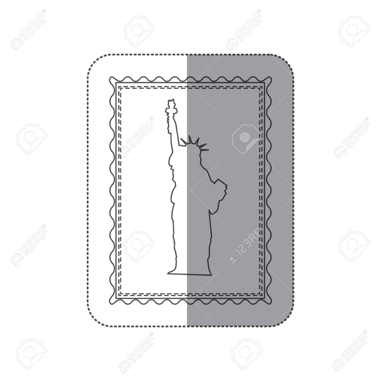 Sticker Monochrome Contour Frame Of Statue Of Liberty Vector