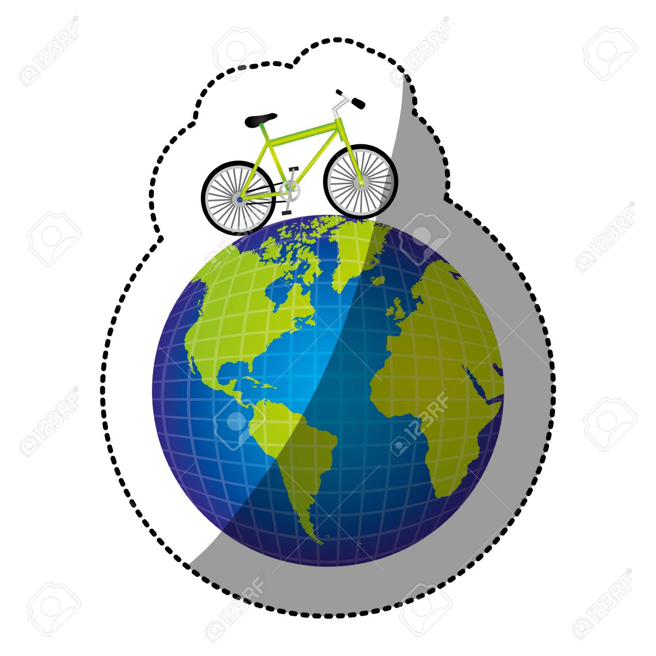 Sticker colorful silhouette of bicycle over the world map vector sticker colorful silhouette of bicycle over the world map vector illustration stock vector 74991649 gumiabroncs Images