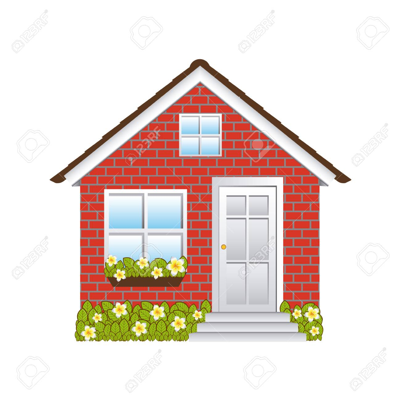 comfortable facade small house with brick wall vector illustration rh 123rf com red brick house clipart Hay House