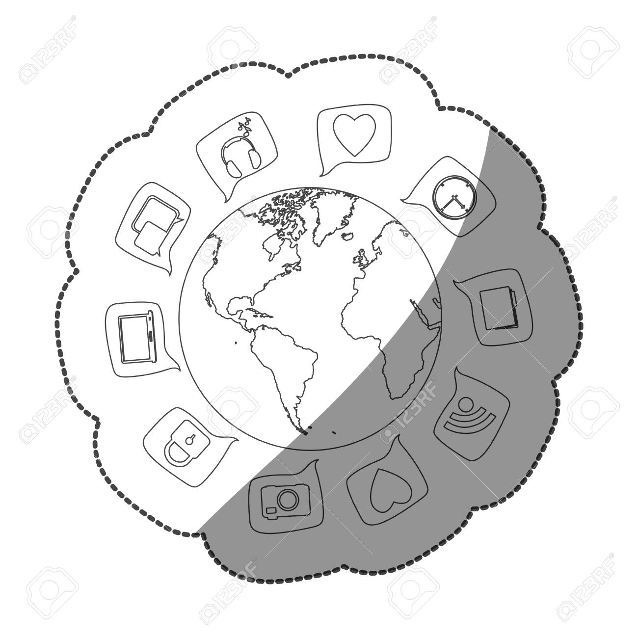 Sticker silhouette world map globe with dialogue social icons sticker silhouette world map globe with dialogue social icons vector illustration stock vector 75576316 gumiabroncs Choice Image