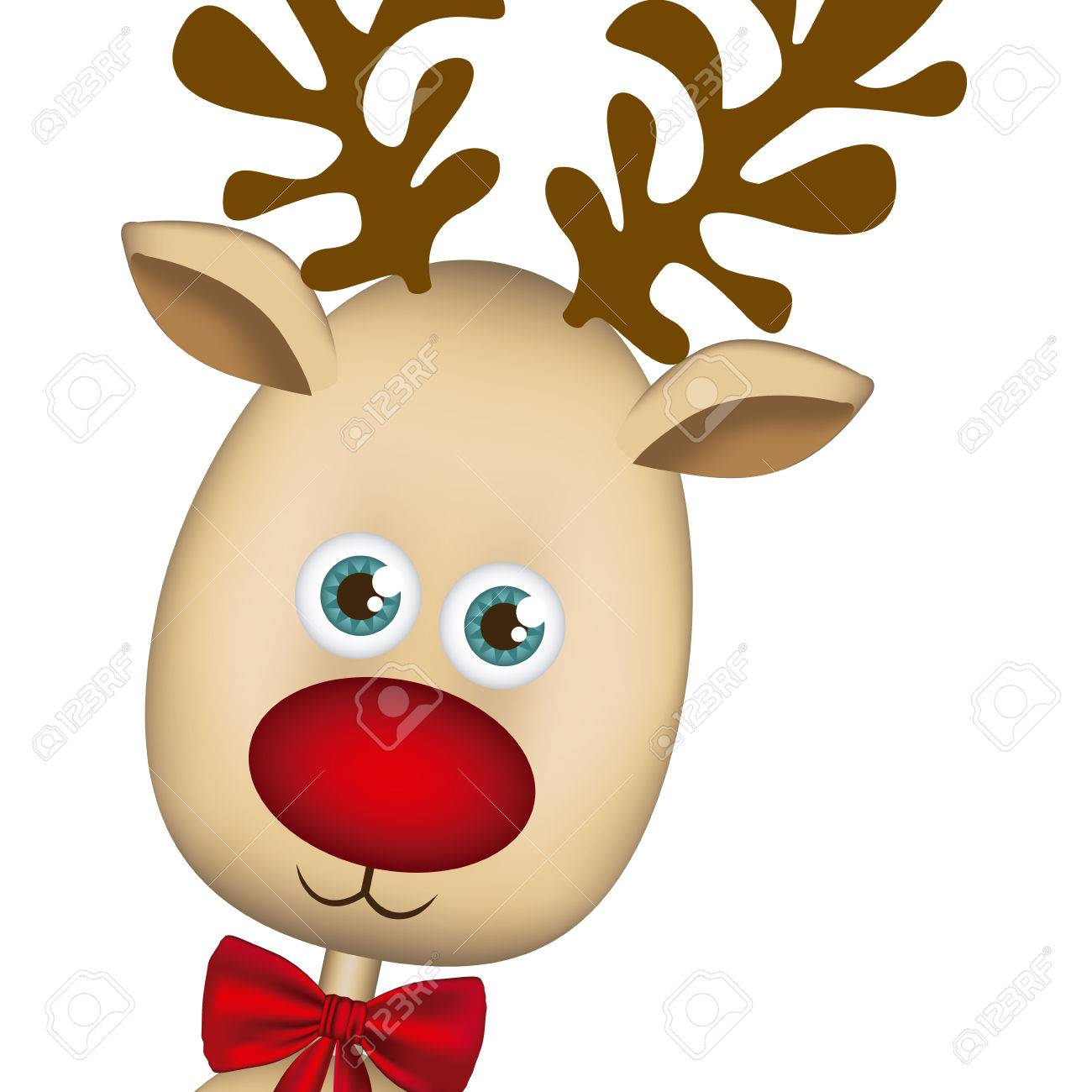 Color Background Of Christmas Reindeer Face Vector Illustration Stock
