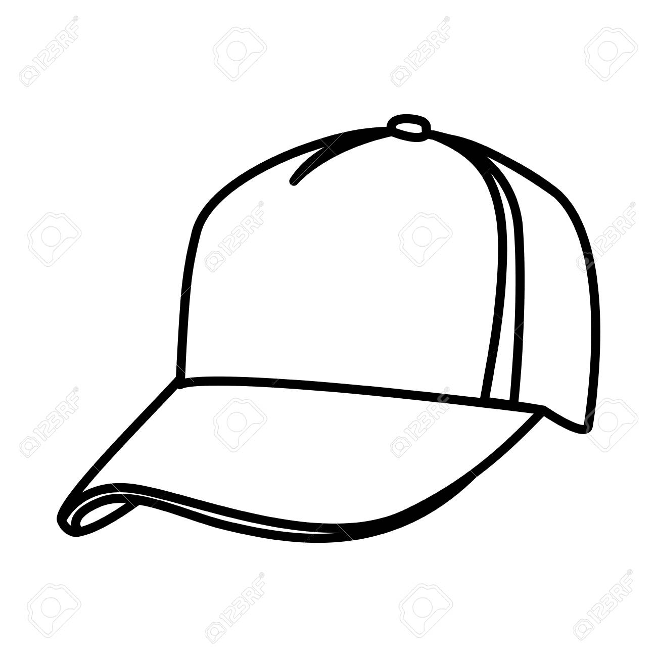monochrome contour of baseball cap vector illustration royalty free rh 123rf com White Baseball Hat Vector baseball hat vector template