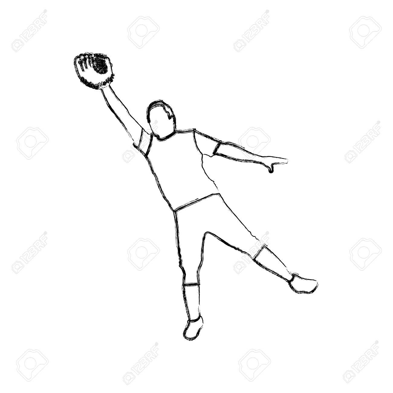 Monochrome Sketch Of Baseball Catcher Vector Illustration Royalty