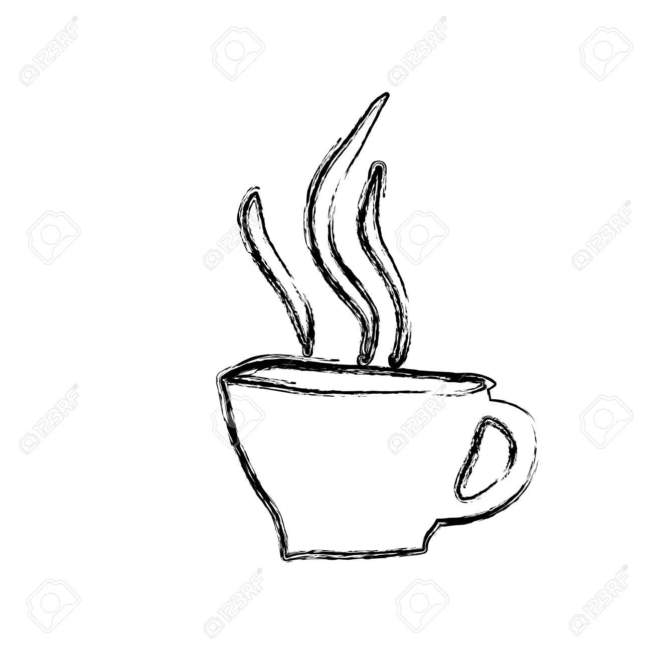Monochrome Skizze Hand Gezeichnet Von Heißen Kaffeetasse Vektor
