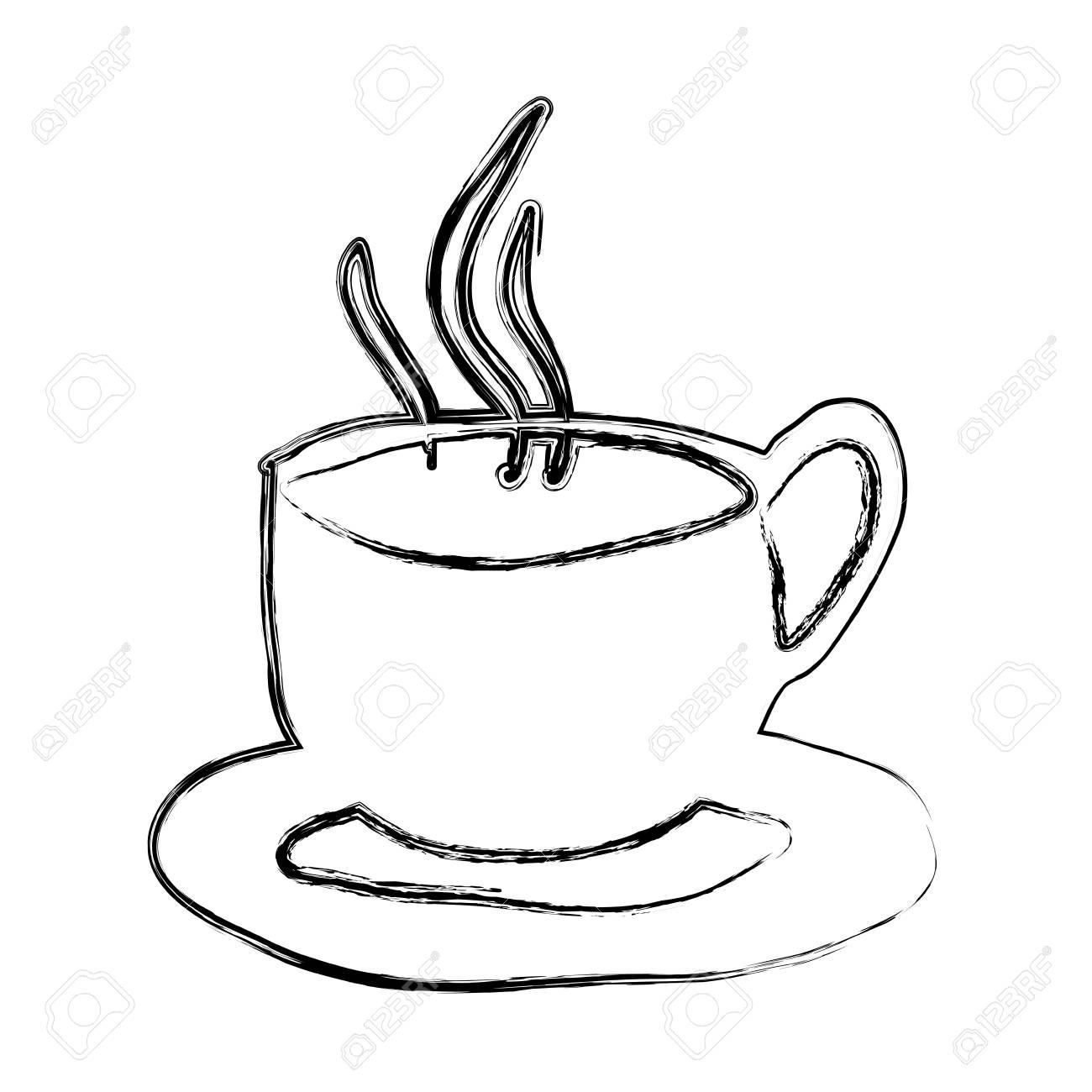 Einfarbige Skizzenhand Gezeichnet Von Der Heißen Kaffeetasse Auf