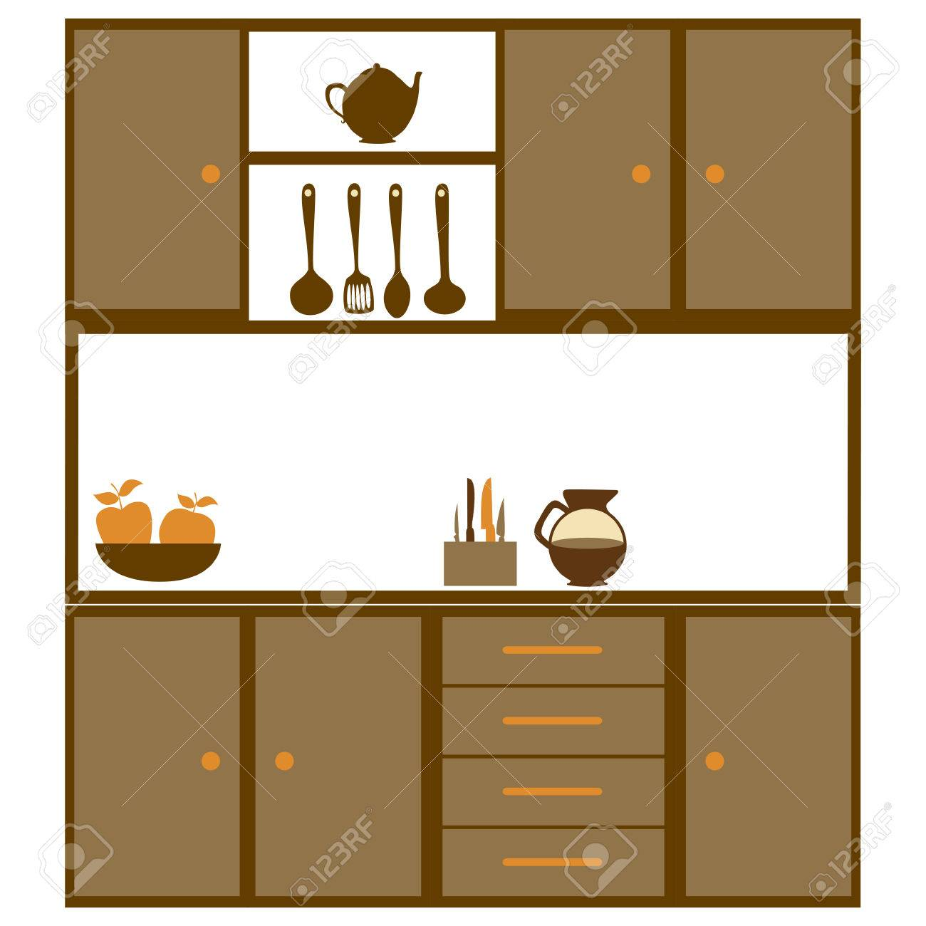 color silhouette of kitchen cabinets with utensils vector rh 123rf com