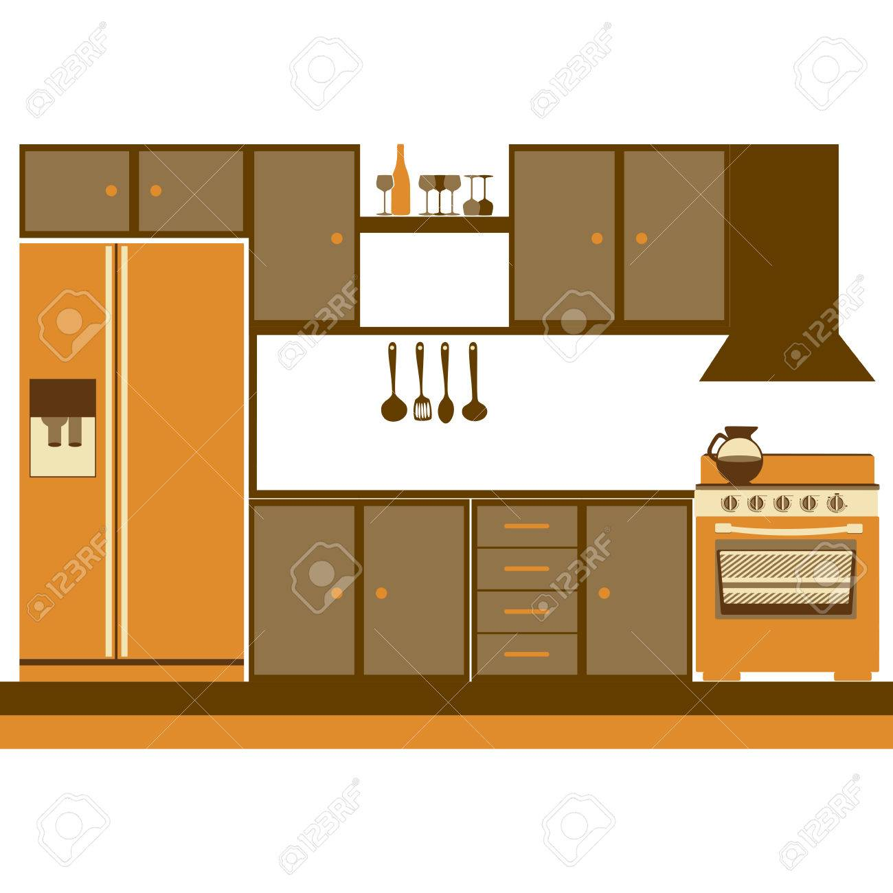 Color Silhouette Of Kitchen Cabinets With Stove And Fridge Vector
