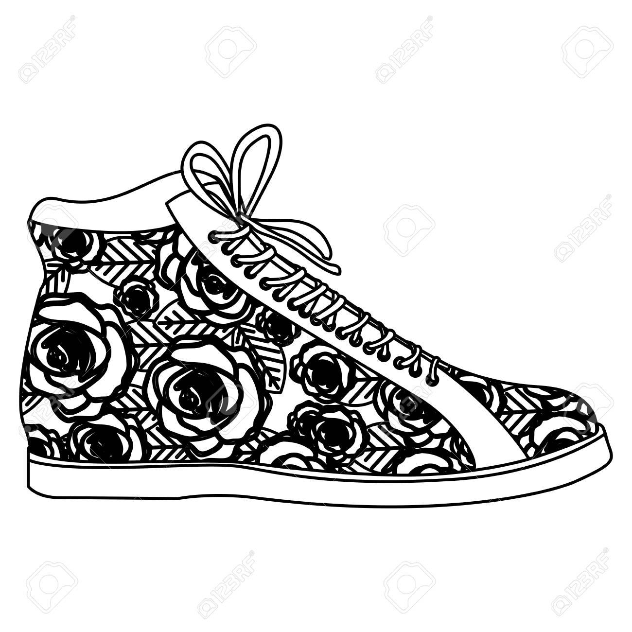 illustration de vectorielle décoration florale monochrome lacets botte avec Silhouette et de gYb7yf6