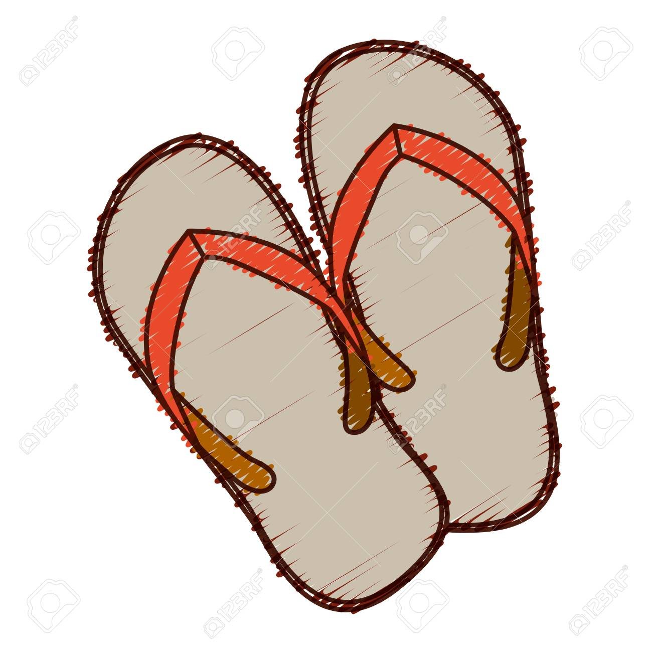 Mano Coloreada Dibujo De Playa Flip-flops Ilustración Vectorial ...