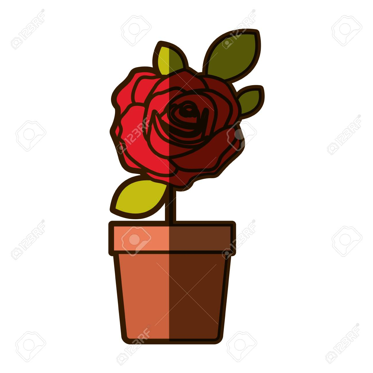 Dessin D Ombrage Colore Fleuri Rose Rouge Avec Des Feuilles Et De La