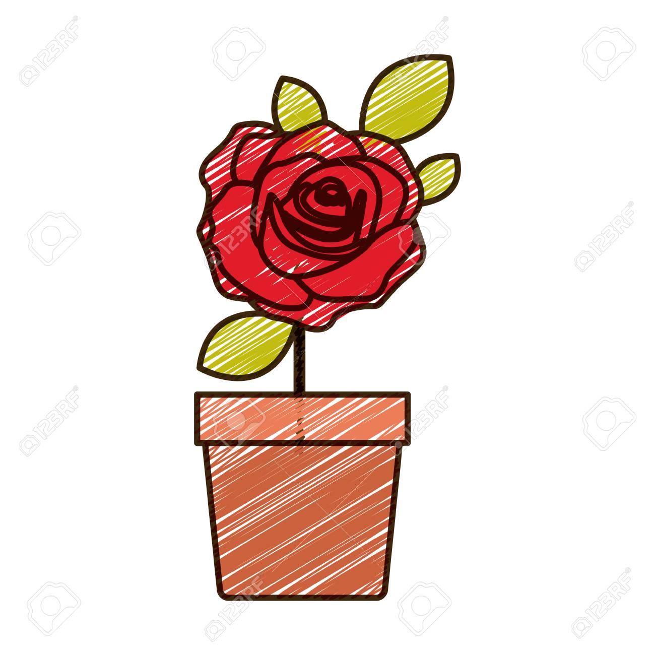 Dibujo A Lápiz De Color De Flor Rosa Roja Con Hojas Y Tallo En