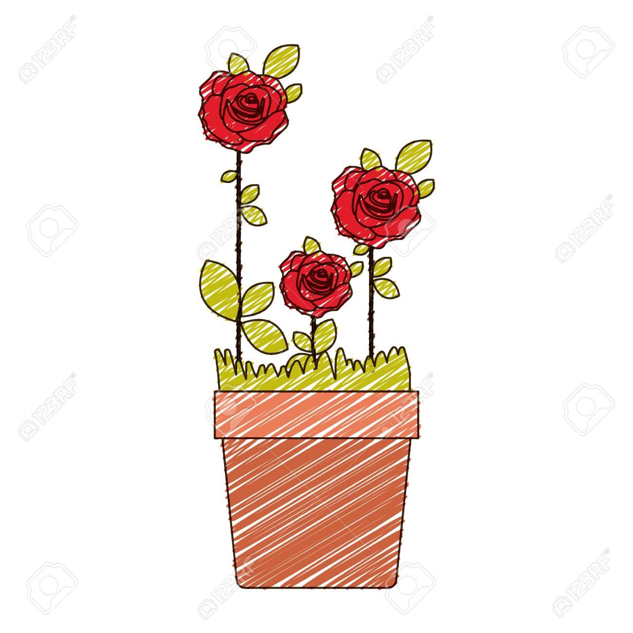 Dibujo A Lápiz De Color De Flores Rosas Rojas Plantadas Con Hojas En