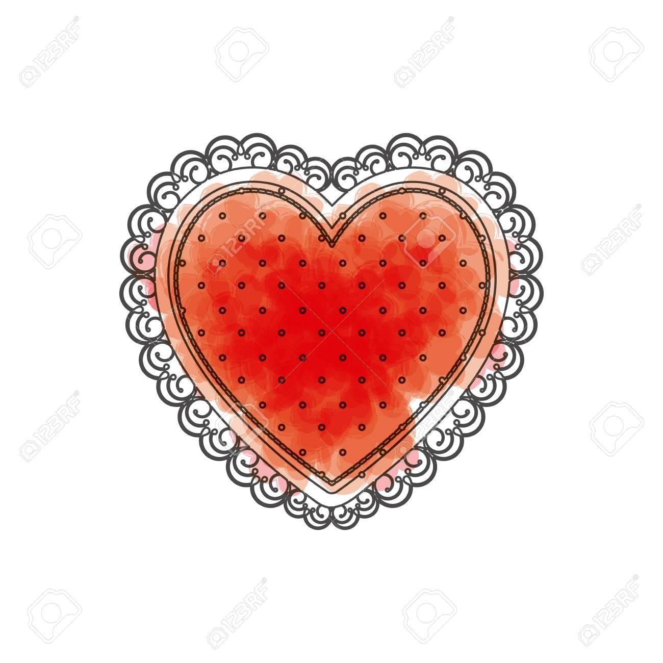 Image Avec Des Coeur aquarelle dessin de coeur avec cadre décoratif en couleur rouge avec