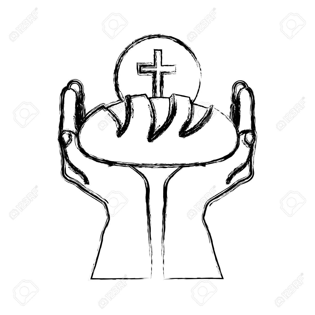 Monochrome sketch silhouette of hands holding bread with sphere with cross symbol vector illustration. - 76356873