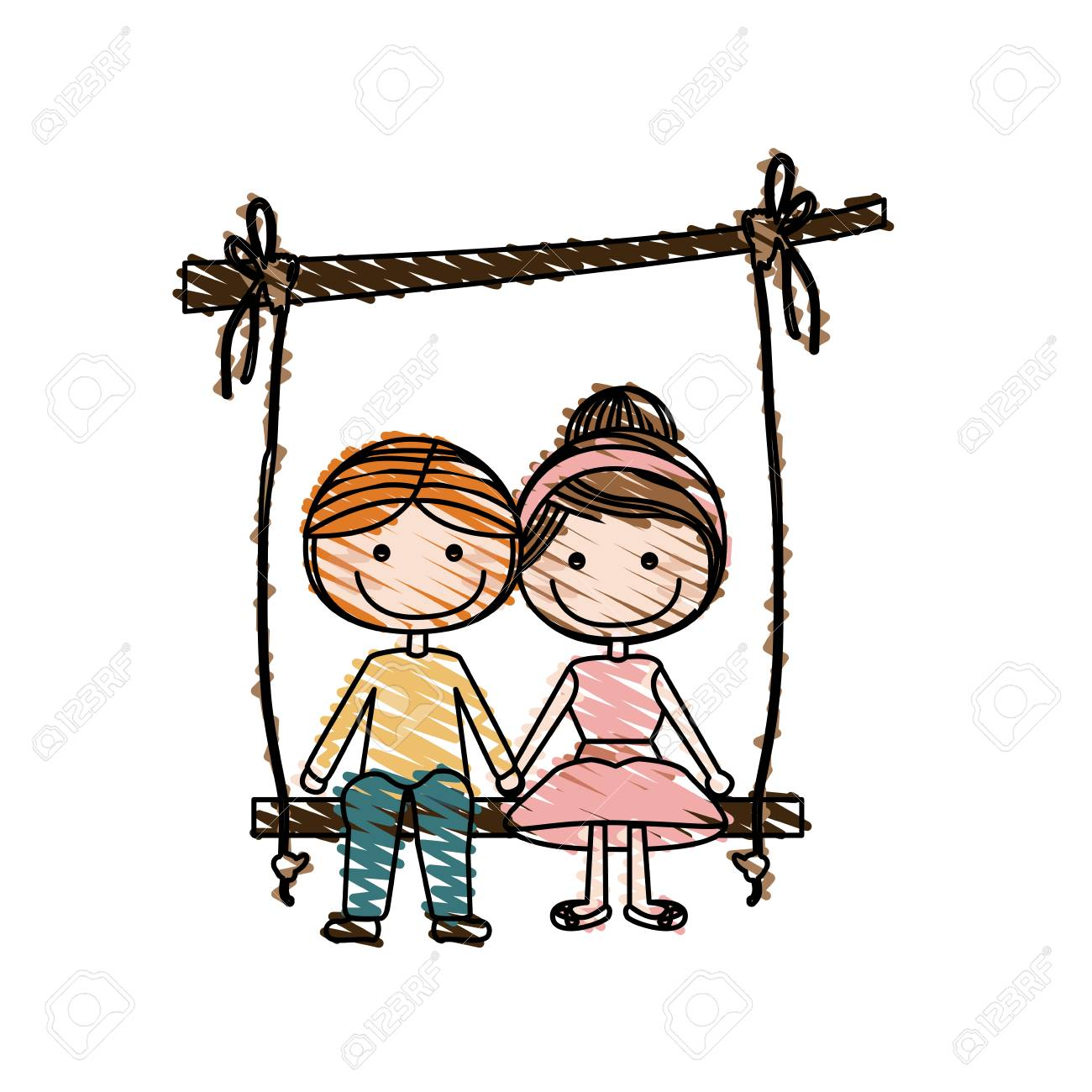 Color pencil drawing of caricature blond guy and girl with collected hairstyle sit in swing hanging