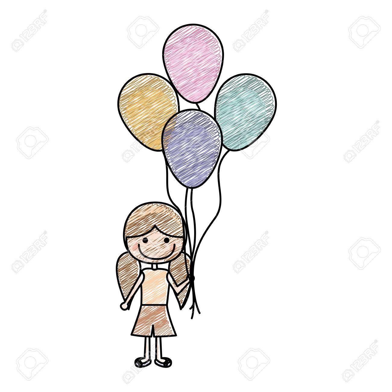 A Sonriente Lápiz Con De Color Niña Sqmpzuv Dibujo La Caricatura UMSGpLqzV