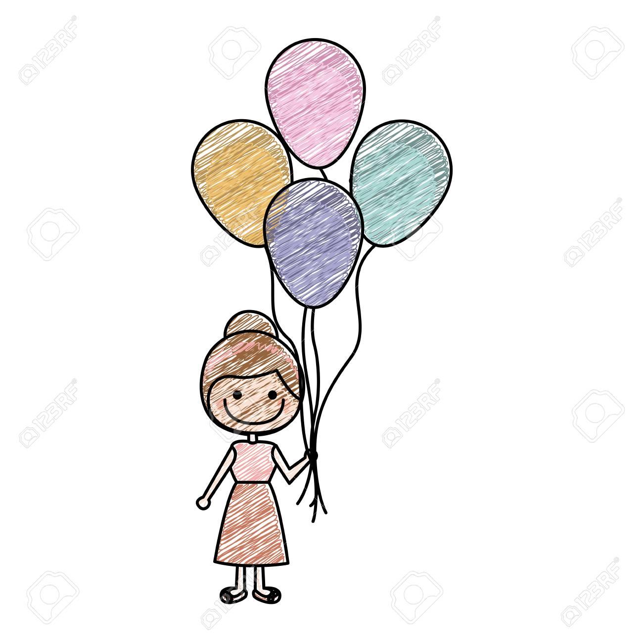 ワンピースの少女や多くの風船ベクトル イラストの笑顔の似顔絵の色鉛筆