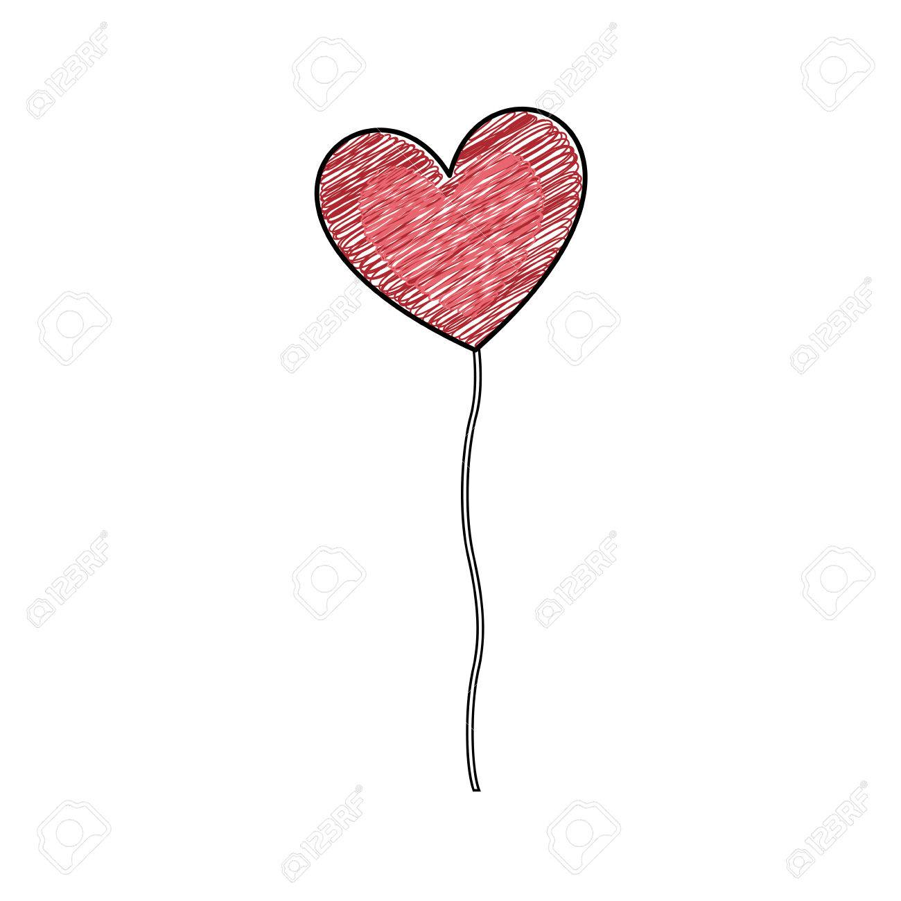 Color pencil drawing of balloon in shape of heart vector illustration stock vector 76788232