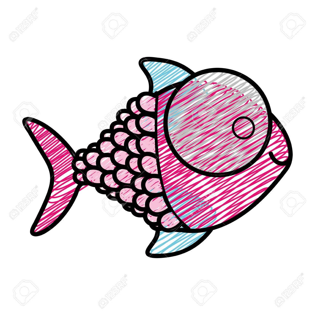 Dibujo A Lápiz De Color De Pescado Con Gran Ojo Y Escalas ...