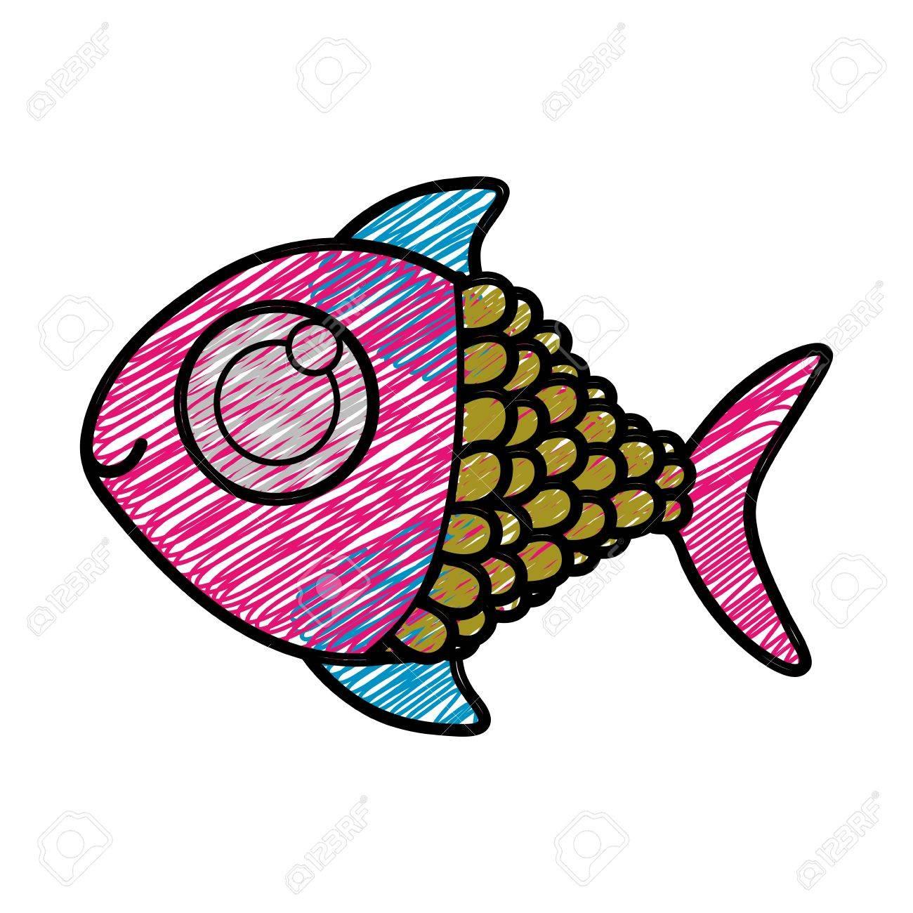 Dibujo A Lápiz De Color De Pescado Con La Ilustración De Vector De ...