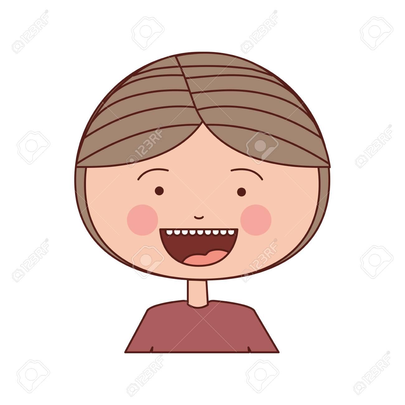 Vettoriale colore sagoma sorriso espressione cartone animato