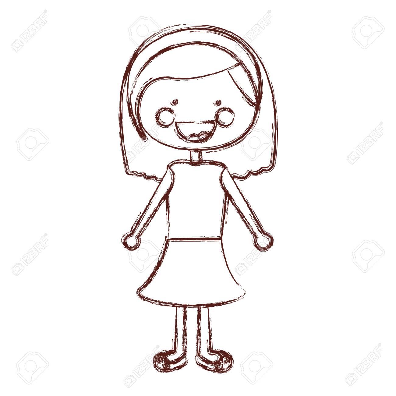 Borrosa contorno sonrisa expresión dibujos animados pelo corto chica con  camisa y falda ilustración vectorial Foto 247011a7adc6c