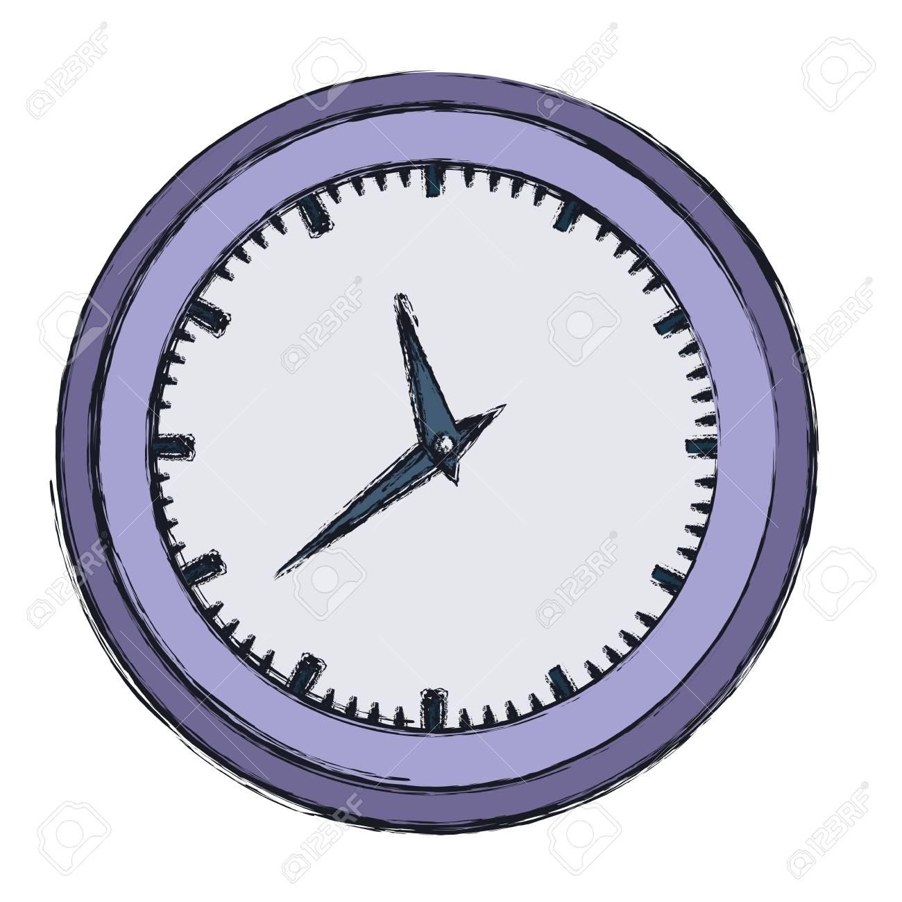 Mano De Dibujo Color De Reloj De Pared En Color Purpura Contorno
