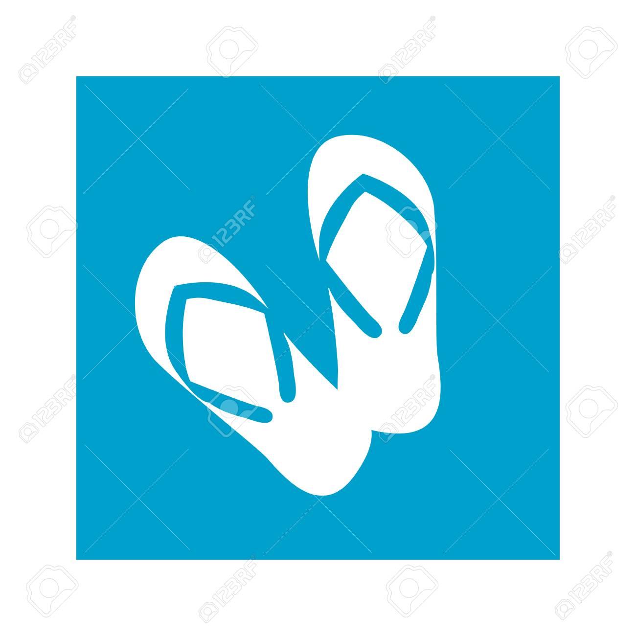 Marco Cuadrado Azul Con Ilustración De Vector De Icono De Flip-flops ...