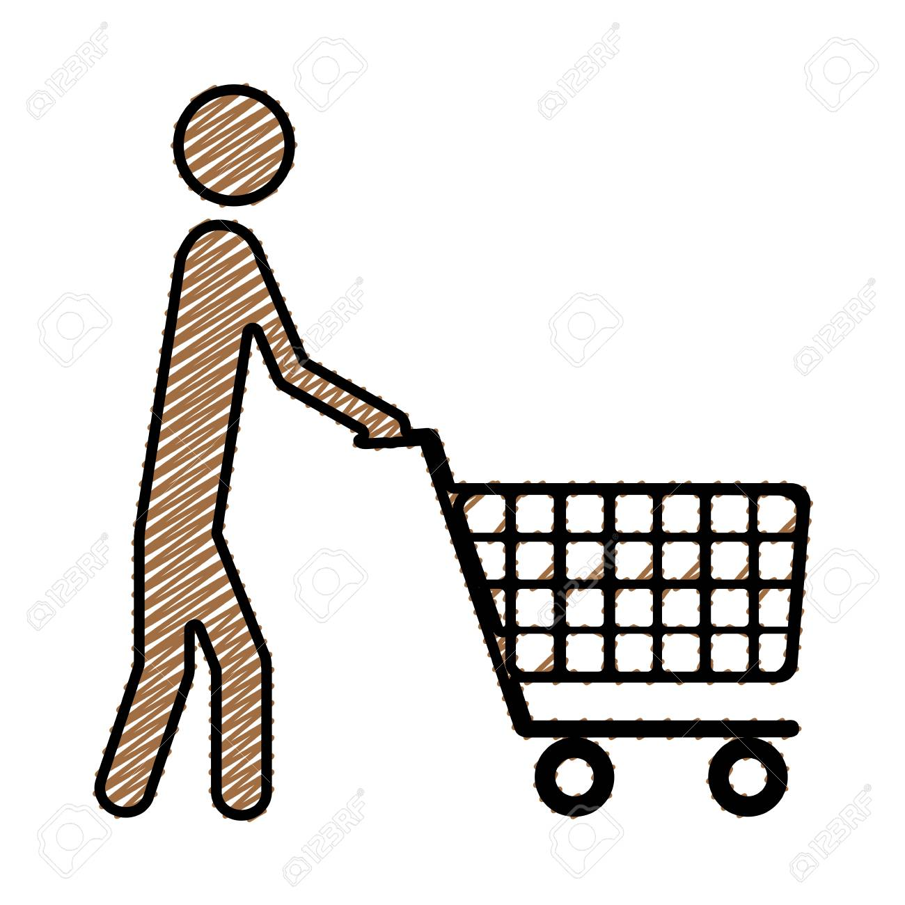 Color pencil drawing silhouette of pictogram man with shopping cart vector illustration stock vector 77023928