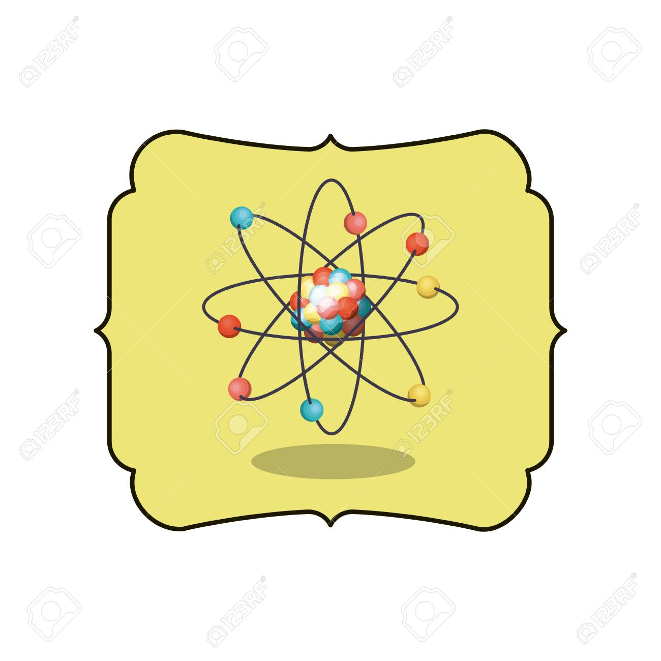 Atom Inside Frame Icon. Chemistry Science And Nuclear Theme ...