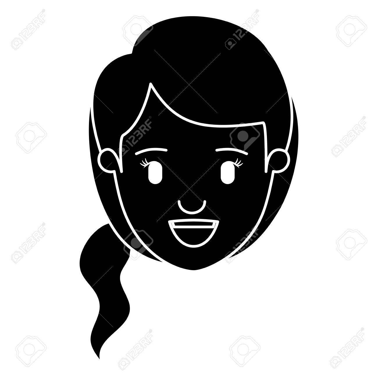 silhouette black front view face woman with side ponytail hair vector illustration stock vector 77938883