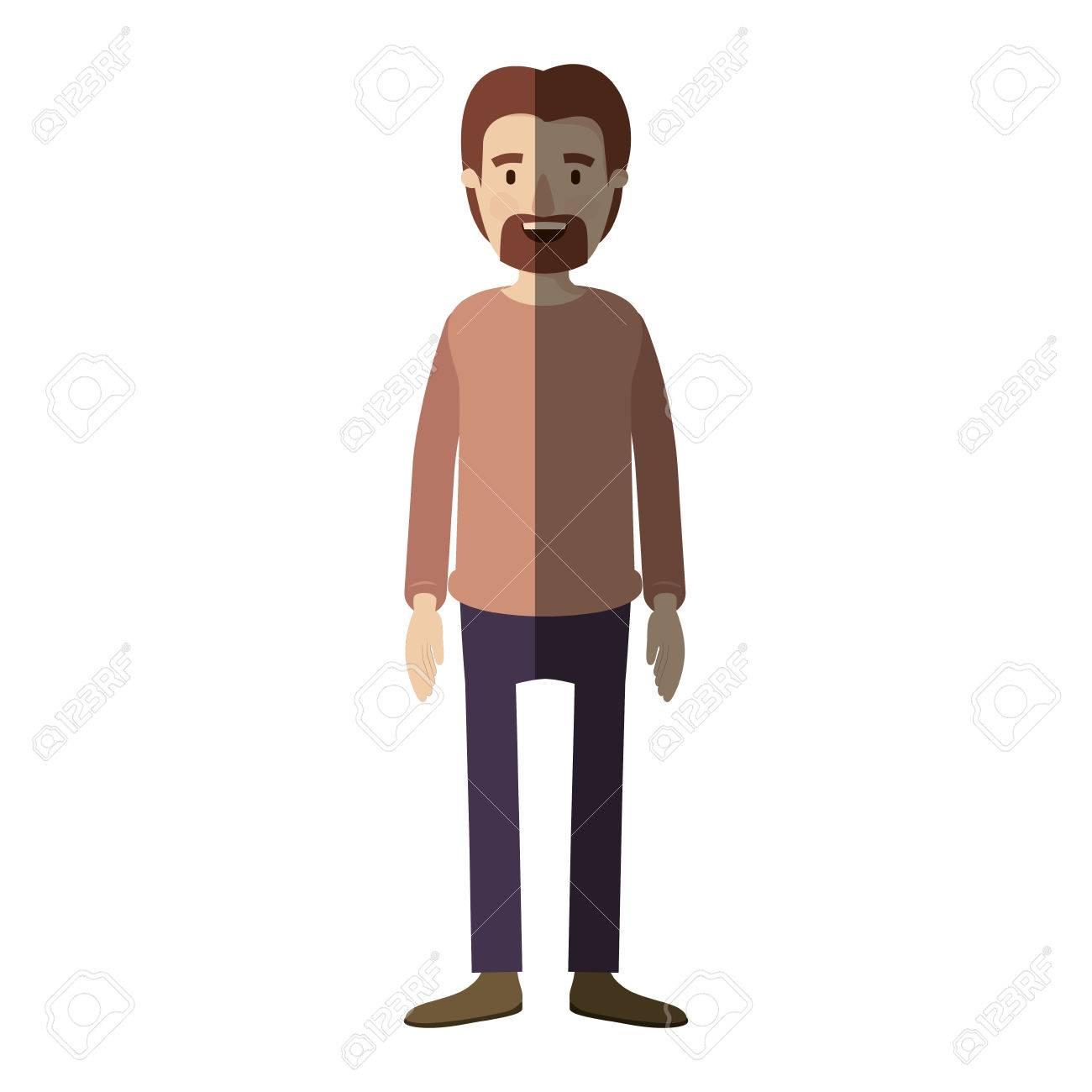 Color Claro Sombreado Caricatura Cuerpo Completo Persona Masculina