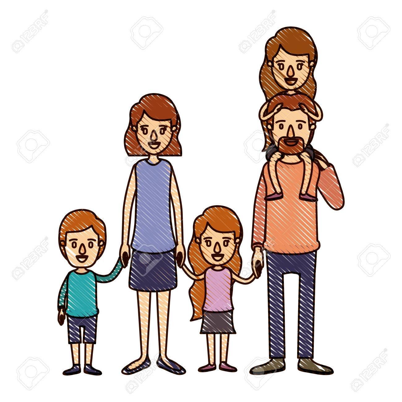 Color Crayón Raya Dibujos Animados Gran Familia Padres Con Niña En