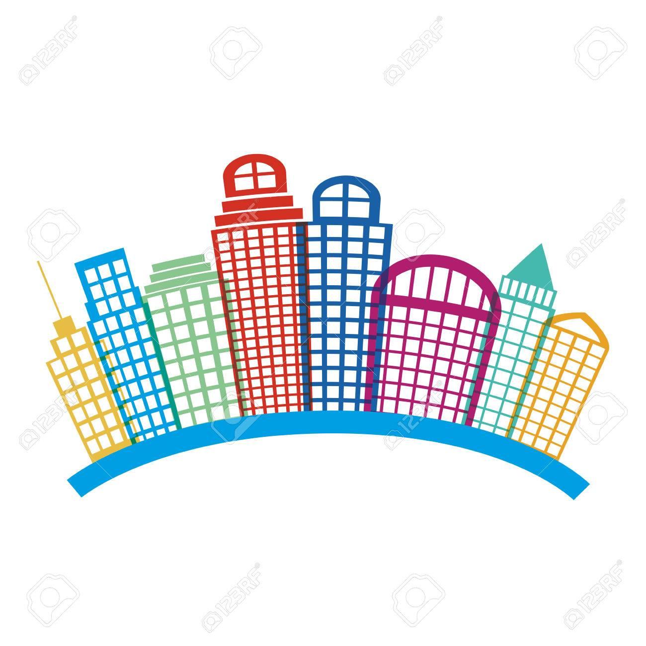 建物超高層ビルのカラフルなシルエット都市景観曲線ベクトル図