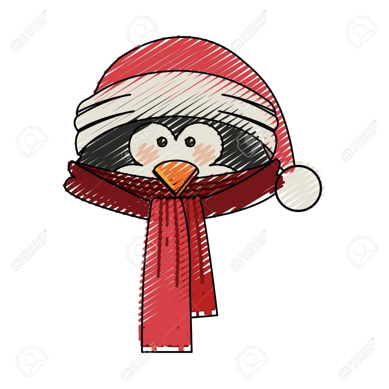 Rayas De Color Dibujos Animados De Cara De Pinguino Con Bufanda Y