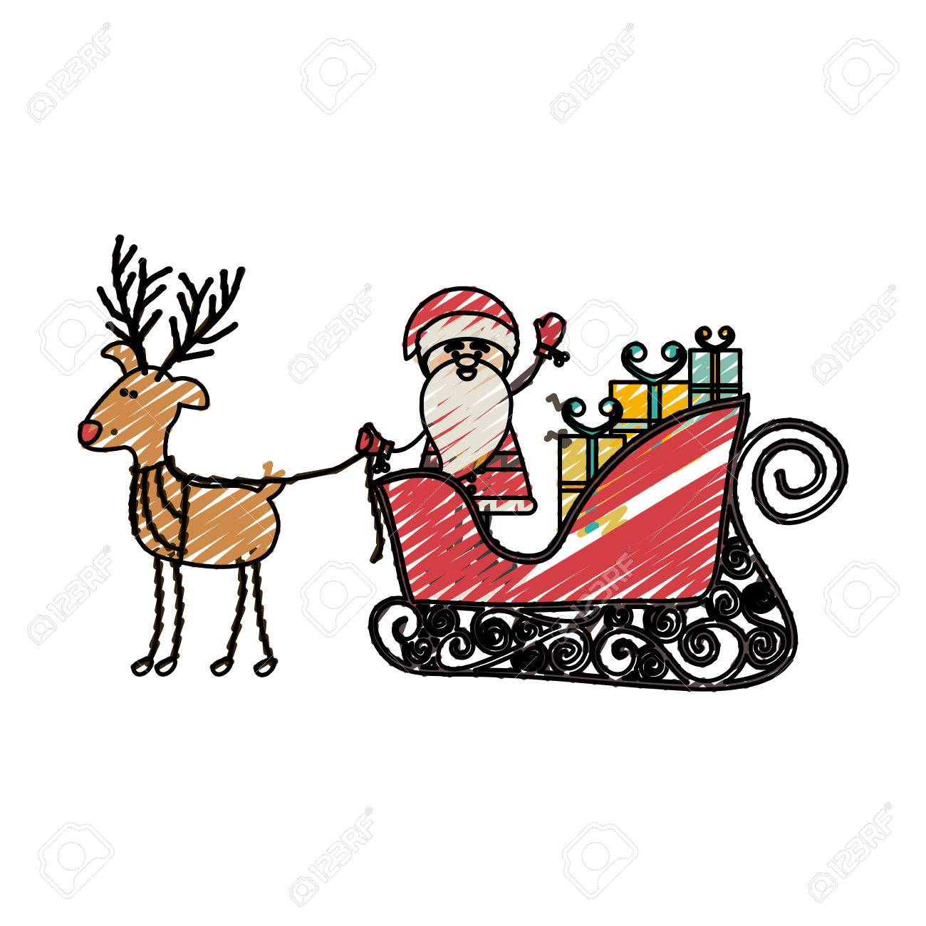 color crayon stripe cartoon of funny reindeer with santa claus in sleigh with gifts vector illustration - Reindeer With Santa