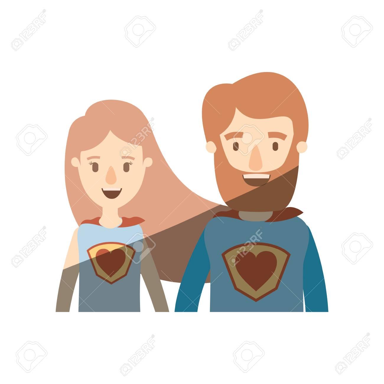 Eroe femminile e maschio eccellente delle metà del corpo di caricatura di ombreggiatura di colore leggero con il simbolo del cuore nell'illustrazione