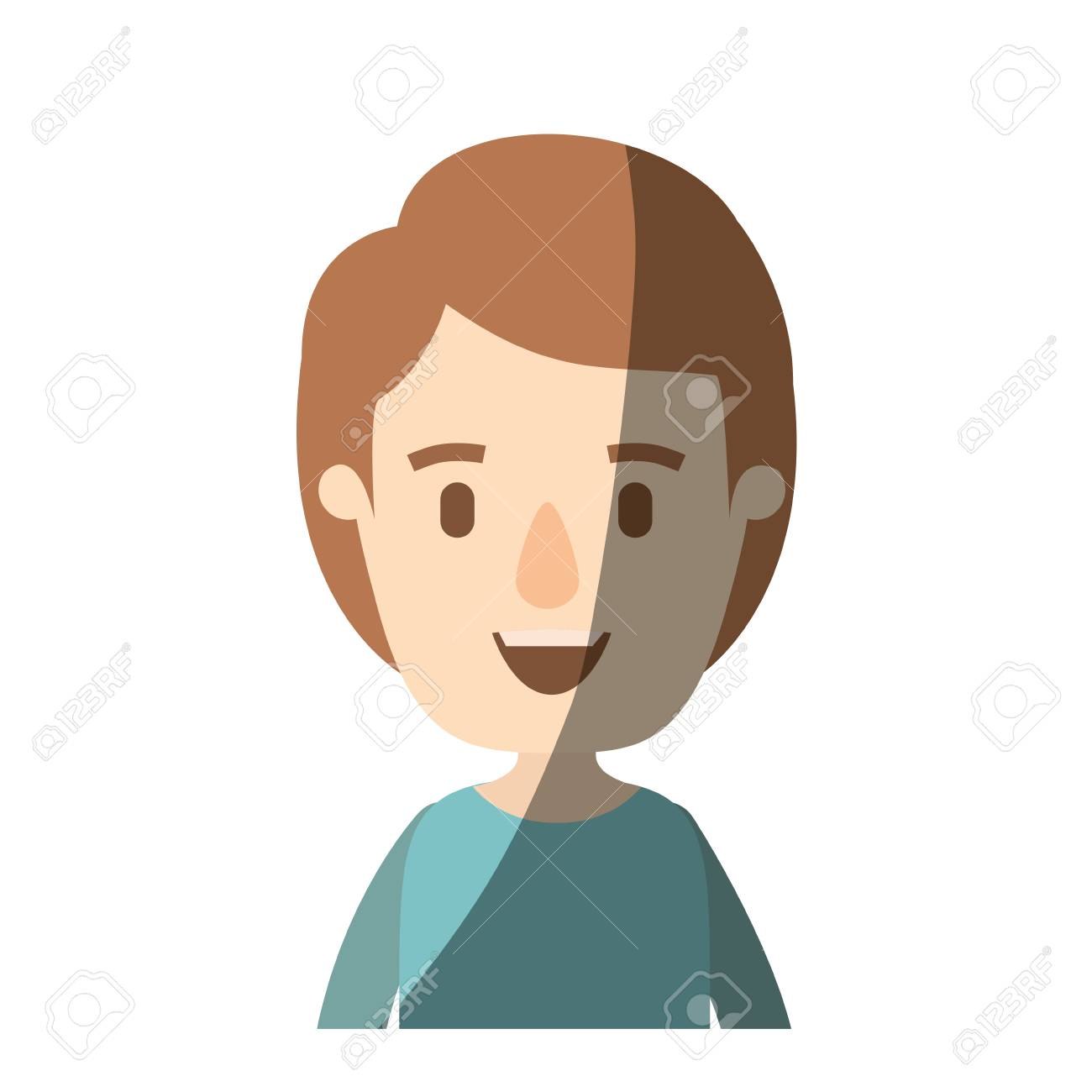 Light Color Shading Caricature Half Body Boy With Hairstyle Vector