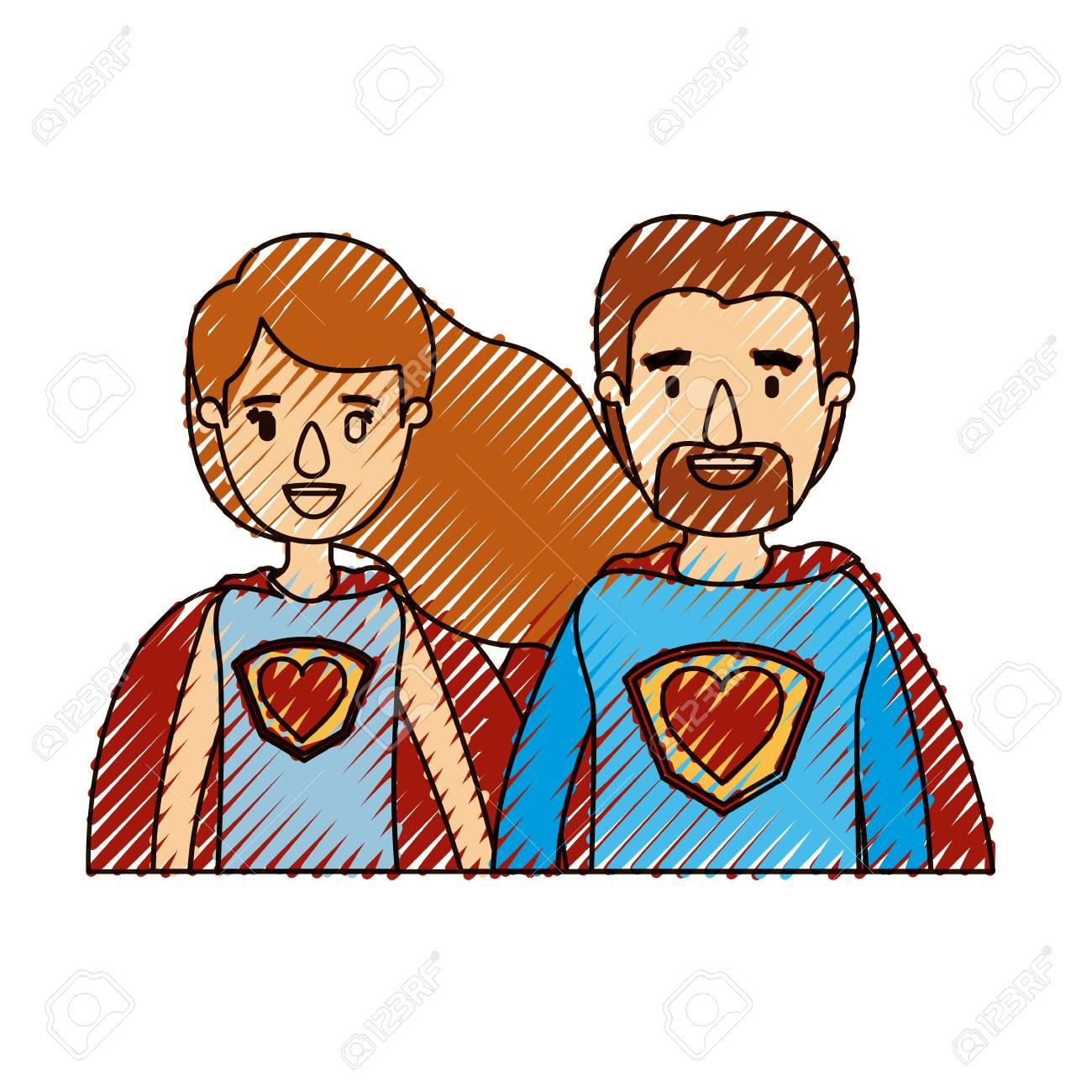 Coppia di colori pastello striscia caricatura metà corpo coppia super eroe con il simbolo del cuore in uniforme illustrazione vettoriale