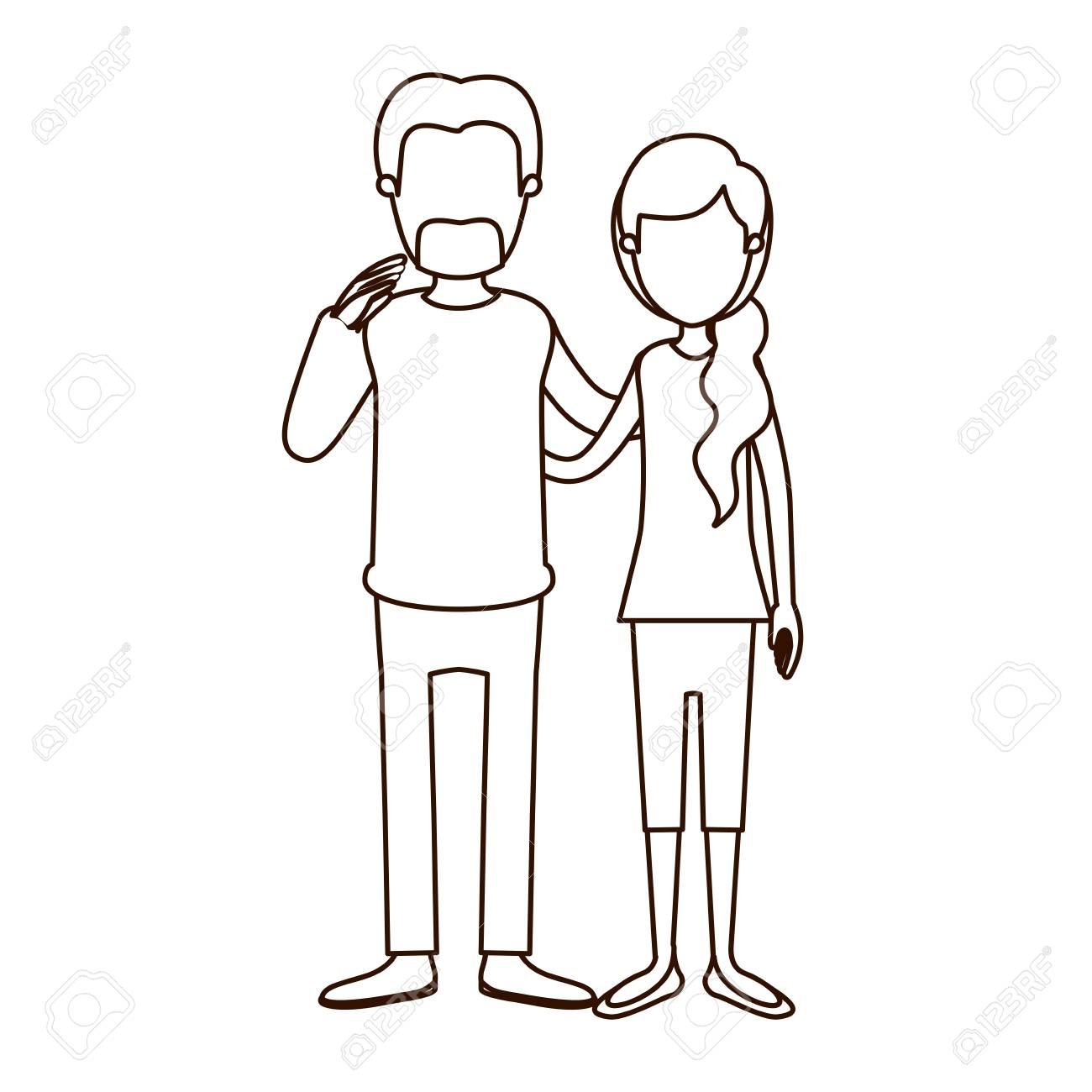 Sketch contour full body woman with ponytail side hair and man embracing couple vector illustration stock