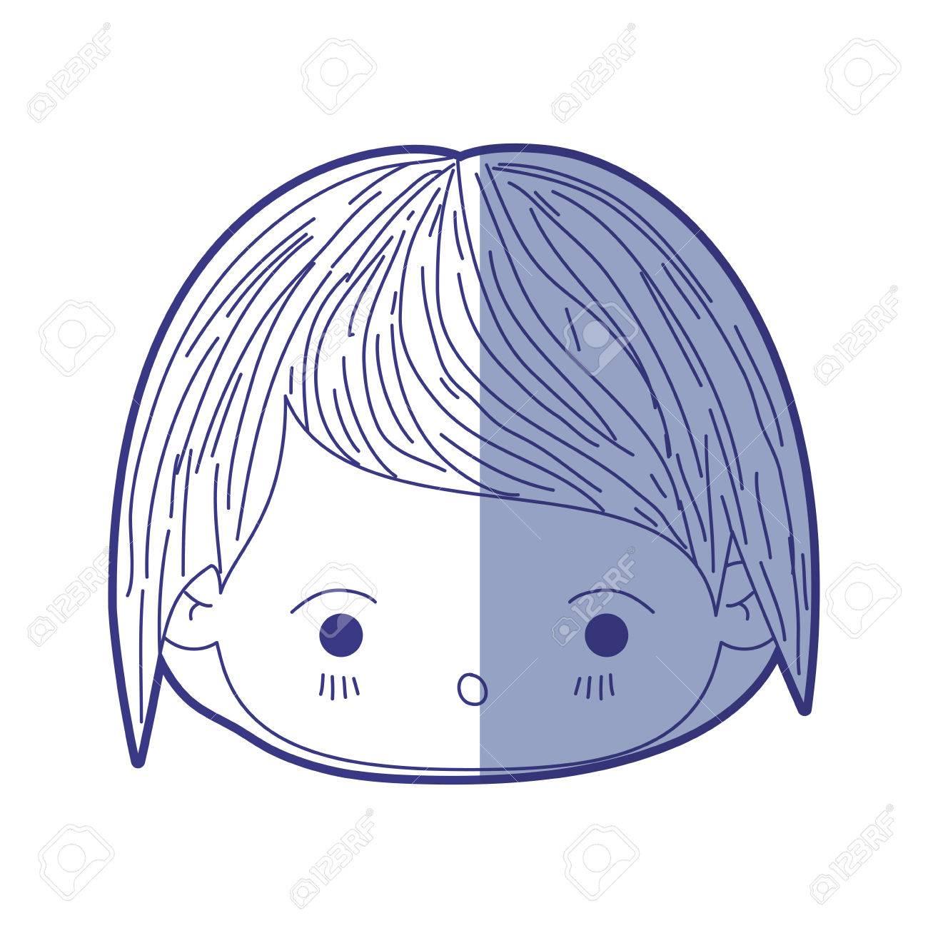 青の網かけ驚きベクトル イラストの表情と小さな男の子のかわいい頭の