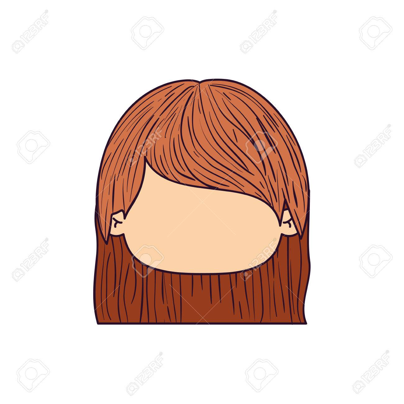 Colorful Caricature Faceless Front View Cute Girl With Short