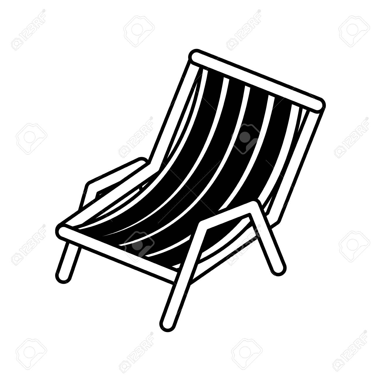 black silhouette of beach chair vector illustration